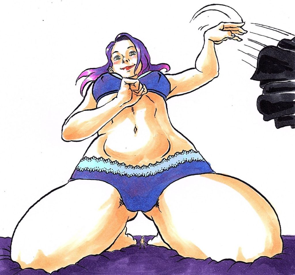 A color illustration of a woman in a blue bra and panties with blue-purple hair, who is throwing a piece of clothing to the side as if she has just removed it. The image is drawn from a low perspective, highlighting the small figure of a tiny person, roughly a centimeter tall, between the kneeling thighs of the woman.