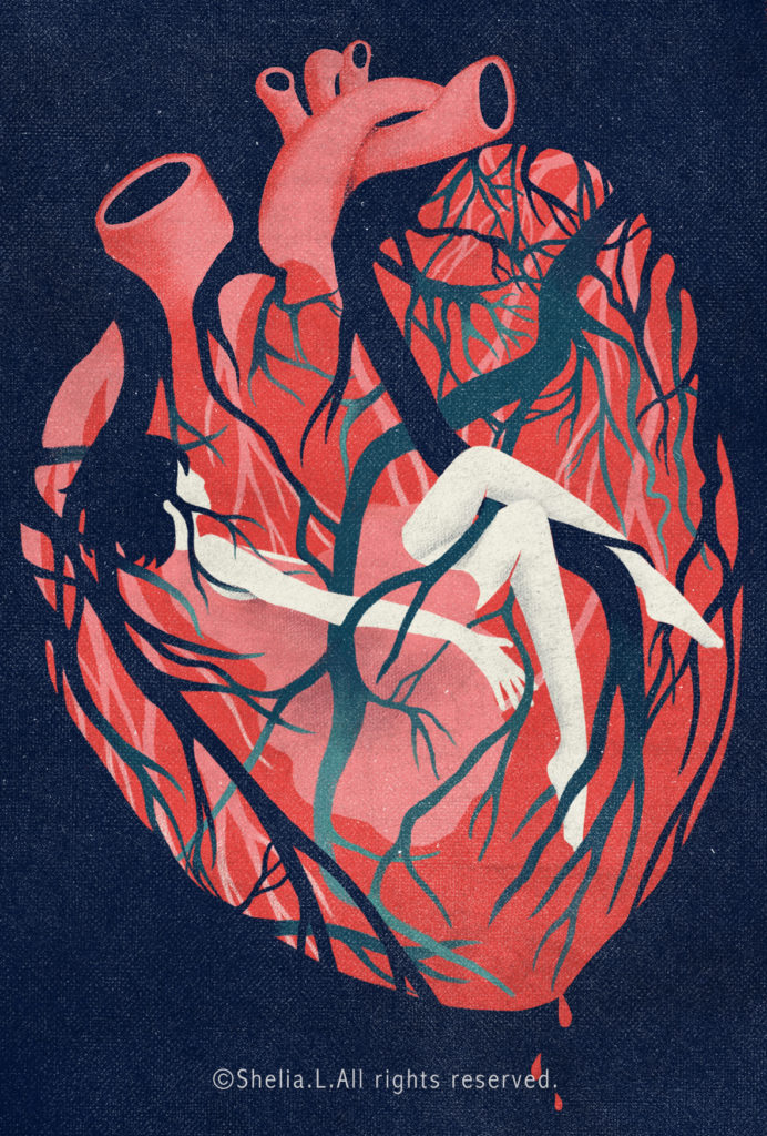 A small, pale human figure is shown reclining in a red and pink anatomical depiction of a heart. Veins, arteries, and capillaries twine around the tiny person's arms and legs like tree roots. Artwork credit to Shelia Liu.